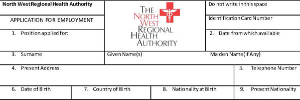 North-West-Regional-Health-Authority-Application-form