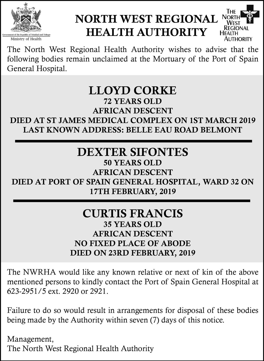 Unclaimed Bodies 2019 – The North West Regional Health Authority