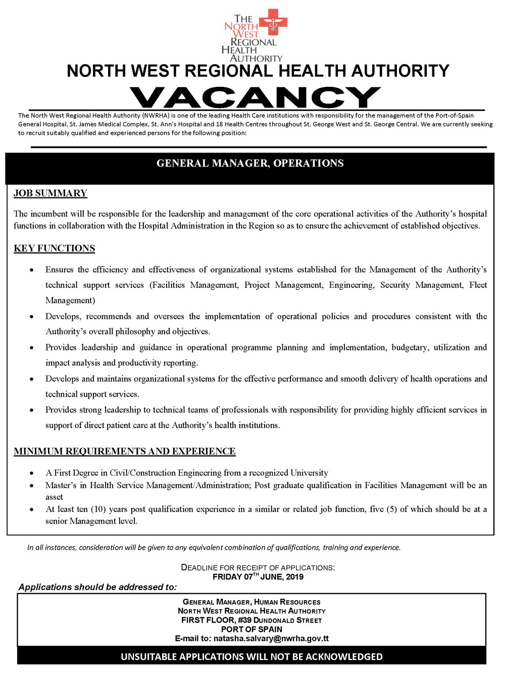 Vacancy – General Manager, Operations – The North West