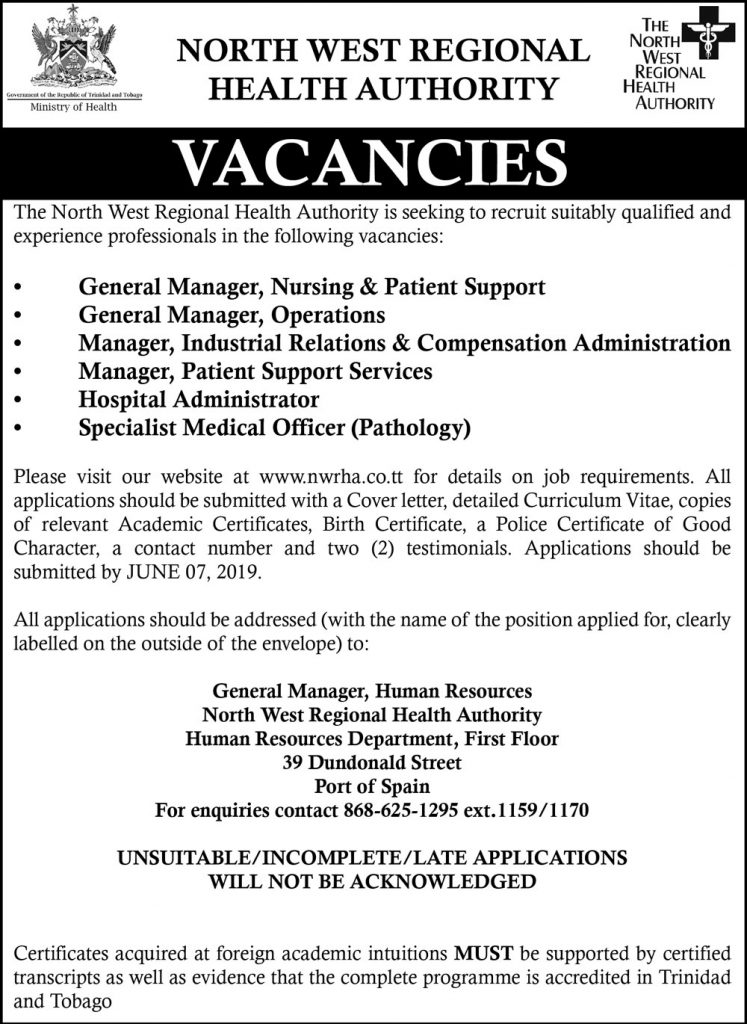 Advertisements – The North West Regional Health Authority