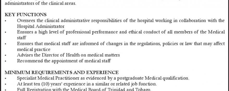 Medical Director, General Hospital Port of Spain