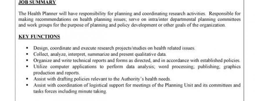 Vacancy – Health Planner