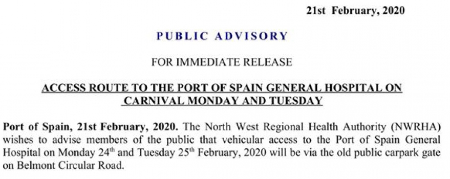 Access Route to the Port Of Spain General Hospital on Carnival Monday and Tuesday
