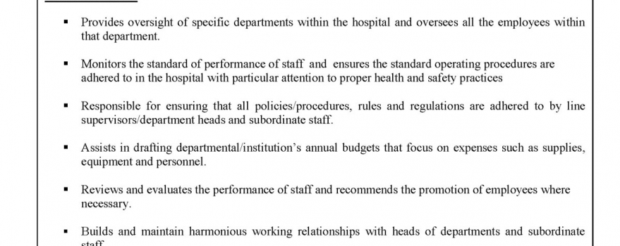 Vacancy – Assistant Hospital Administrator