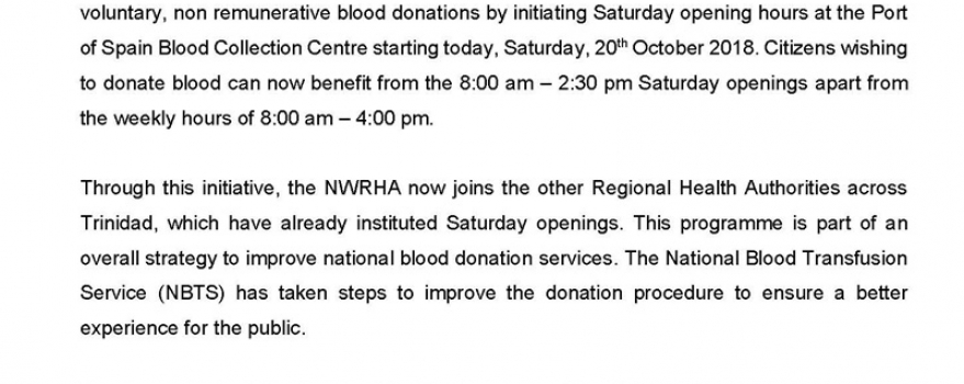 Port of Spain Blood Bank Now Open on Saturdays