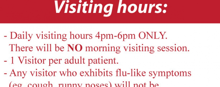 Effective Immediately – New Hospital Visiting Hours