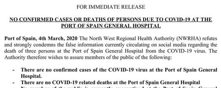 No Confirmed Cases or Deaths of Persons Due to COVID-19 at Port Of Spain General Hospital