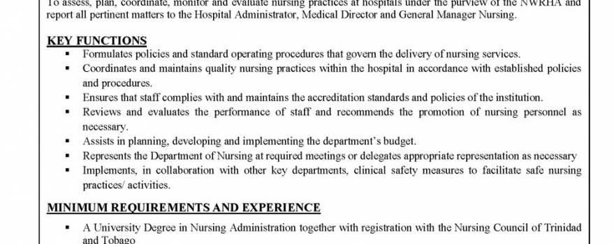 Vacancy – Nursing Admin II