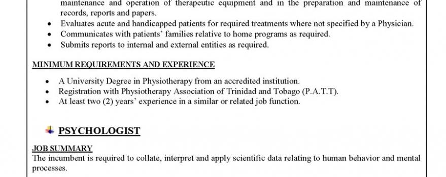 Vacancy – Physiotherapist – Psychologist