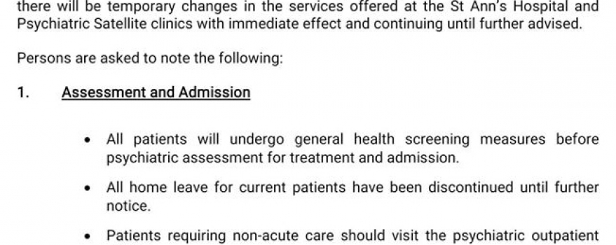 Temporary Changes In Services Offered at St Ann's Hospital and Satellite Centres During The COVID-19 Pandemic