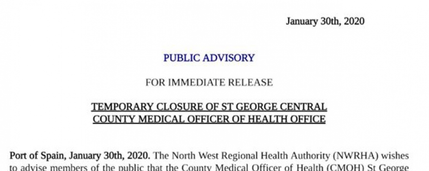 Temporary Closure of St George Central County Medical Officer of Health Office