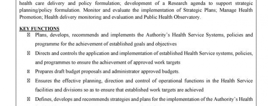 Vacancy – General Manager, Health Policy, Research and Planning