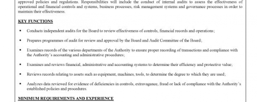 Vacancy – Internal Auditor