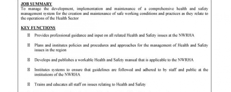 Vacancy – Manager, Occupational Health and Safety
