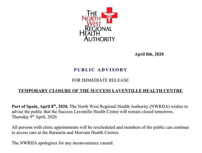 Temporary Closure of The Success Laventille Health Centre