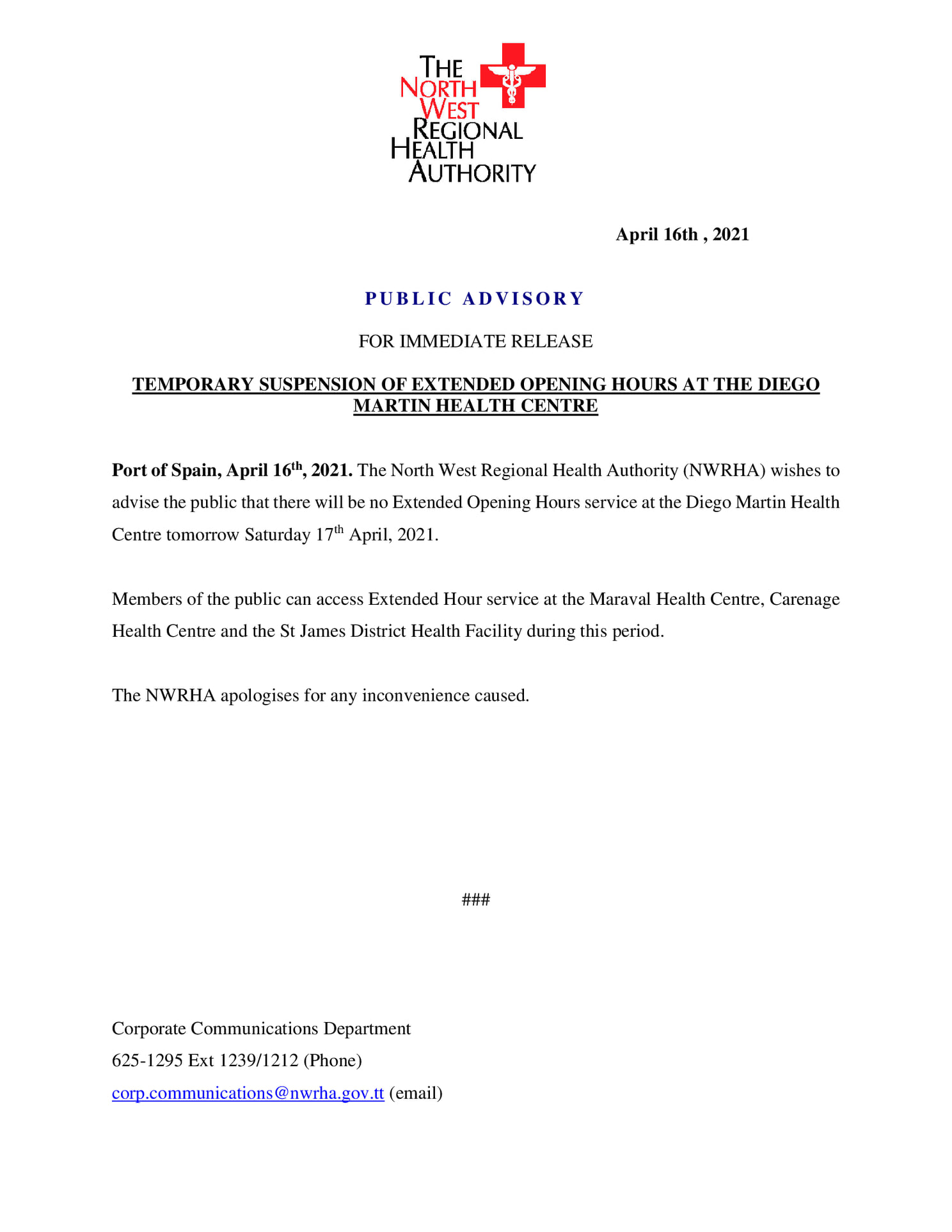 PUBLIC ADVISORY: TEMPRORARY SUSPENSION OF EXTEBDED OPENING HOURS AT THE DIEGO MARTIN HEALTH CENTRE