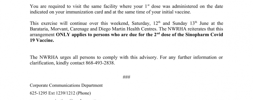 PUBLIC UPDATE: 2ND DOSE OF SINOPHARM VACCINES CONTINUES AT NWRHA HEALTH CENTRES OVER THE WEEKEND