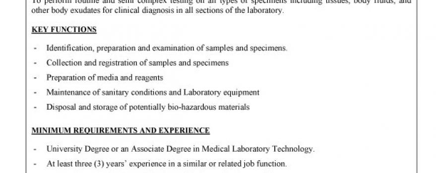 Vacancy – Medical Laboratory Technician I