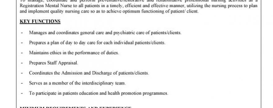 Vacancy – Registered Mental Nurse