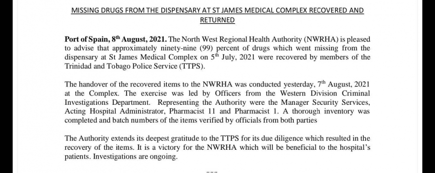 Media Release – Missing Drugs From The Dispensary At St James Medical Complex Recovered and Returned