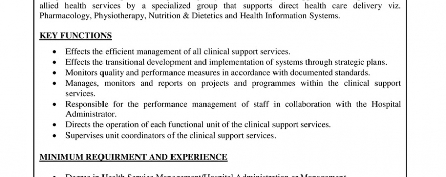 Manager – Patient Support Services