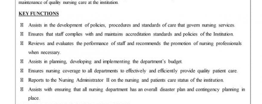 Vacancy – Nursing Administrator  I (General Hospital, Port  Of Spain)