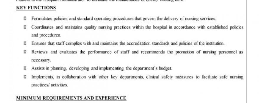 Vacancy – Nursing Administrator II (General Hospital, Port Of Spain)